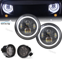 DOT Approved 7 LED Driving Headlamp Round 45W Hi Lo Beam Angel Eyes H4 H13 Side