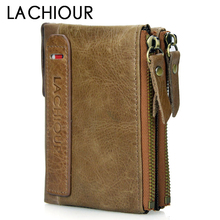 цена на Brand 2018 Men Genuine Leather Wallet Short Men Cowhide Leather Coin Pocket Purse Male Carteira Masculina Double Zipepr Coin Bag