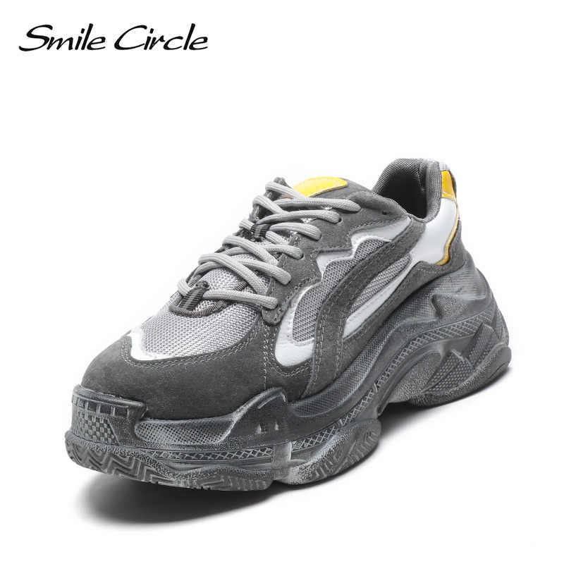 Lächeln Kreis Chunky turnschuhe Frauen schuhe Flache Plattform Sneaker Lace-up lässige Bequeme Dicken boden Damen Sneaker