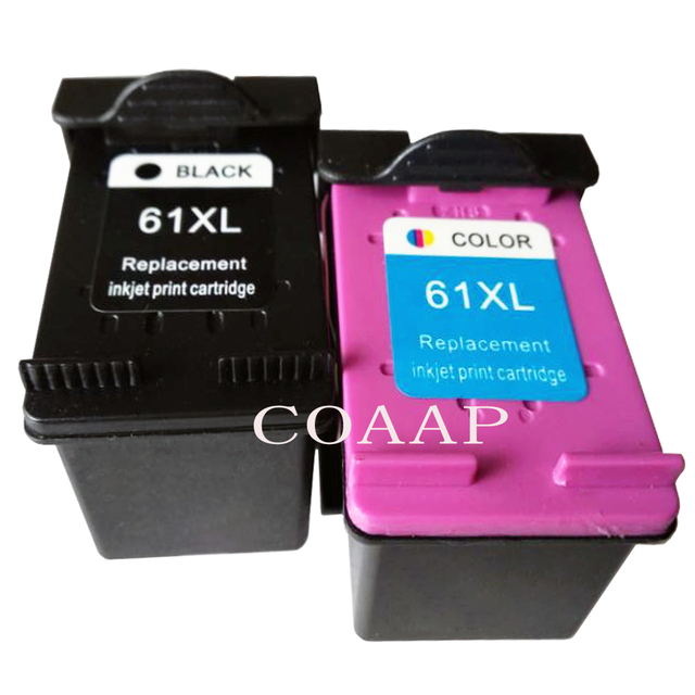2pk 61 XL Black Color Compatible HP 61XL Refilled Ink Cartridges For ENVY 4500