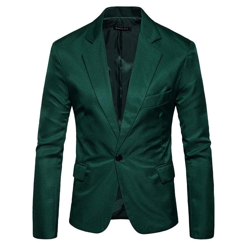 Зеленый тонкий пиджак на одной пуговице, мужской бейзер пиджак 2019, новый мужской костюм с зазубренными лацканами, Блейзер, Повседневные Веч...