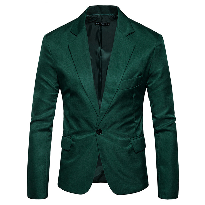 Green Single Button Slim Fit Blazer Jacket Men 2019 Brand New Notched Lapel Men Suit Blazer Casual Party Wedding Blazers Hombre