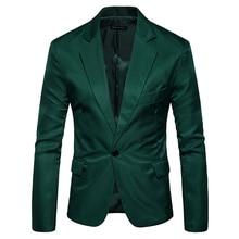 Green Single Button Slim Fit Blazer Jacket Men 2019 Brand New Notched Lapel Men