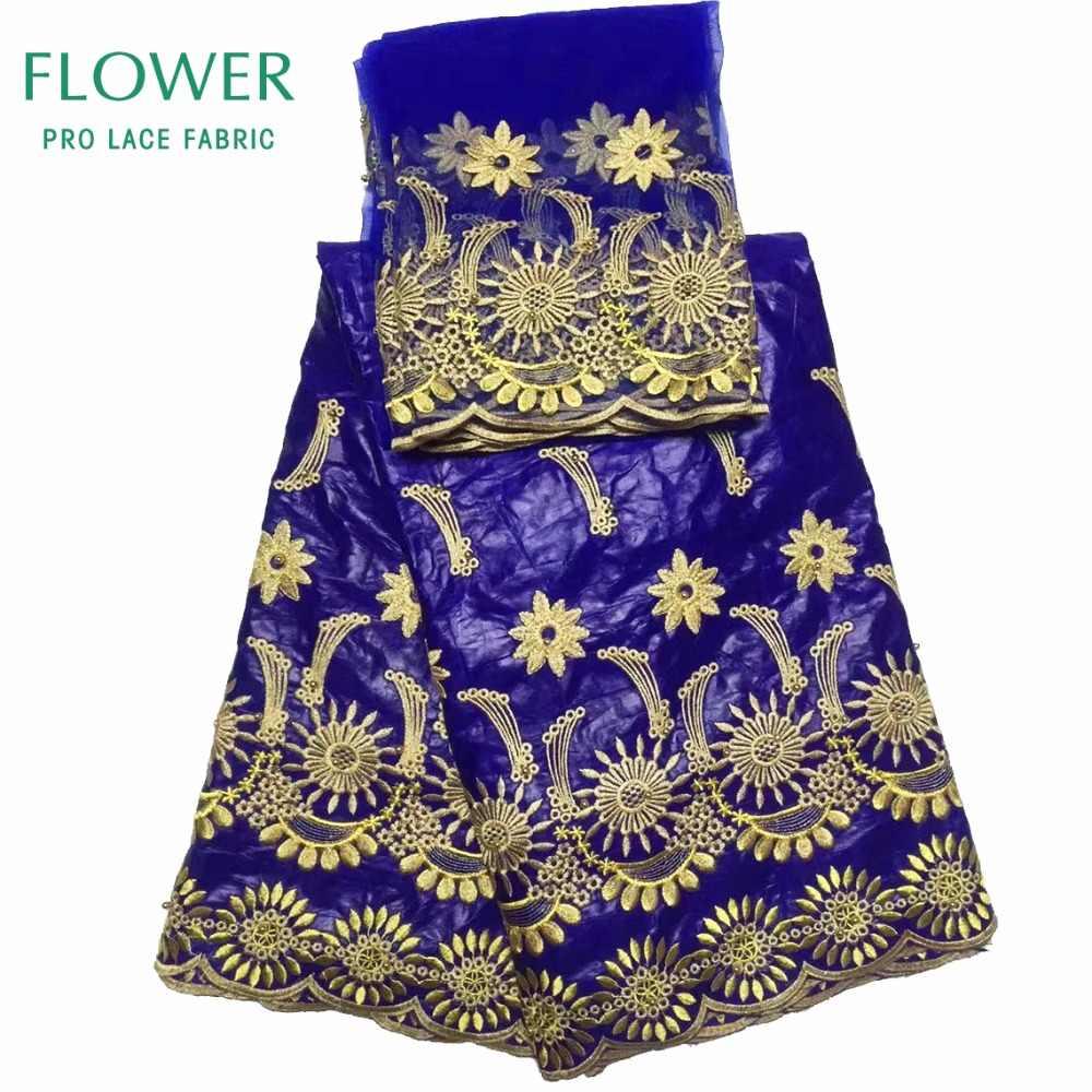 5 ярдов + 2 ярдов Индия Базен Riche Getzner кружевная ткань 2017 с блузкой синий цвет бисером золотая линия вышитая кружевная ткань бассейна
