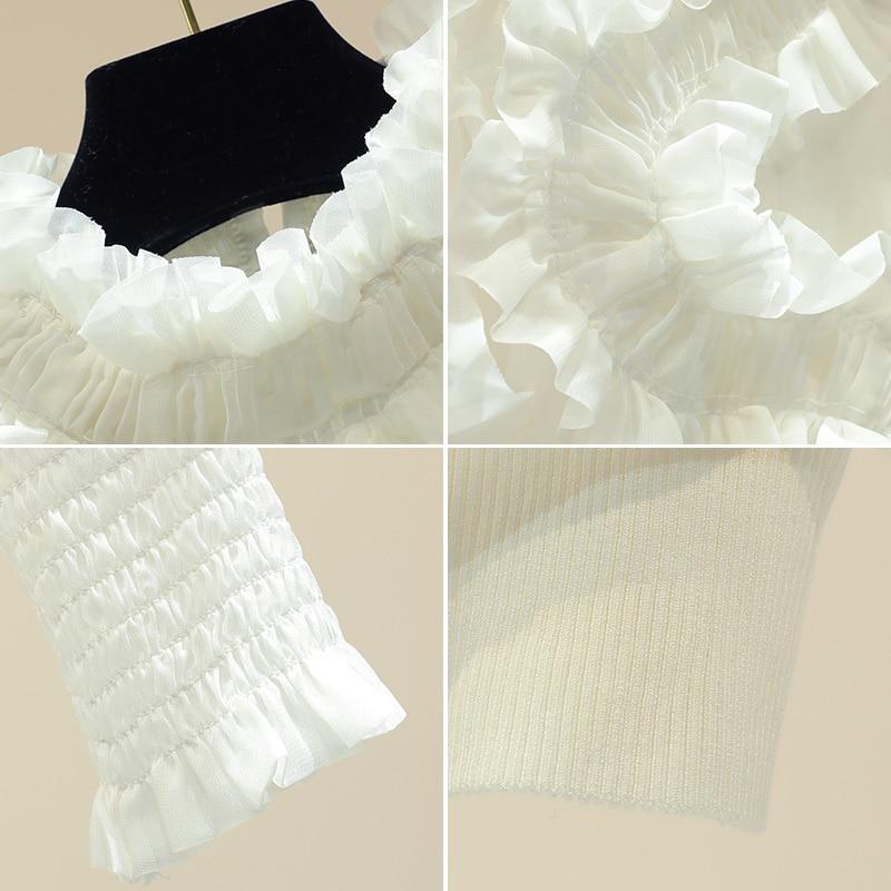 Blouse Femmes Chemise Lanterne Top Bureau Applique Manches Style Blanc Élégant Rue Col Support UwBf5q
