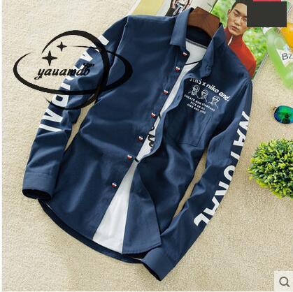 YAUAMDB men shirt 2017 autumn winter size M-4XL cotton male letter long sleeve shirt slim casual turn-down collar clothing y43 2