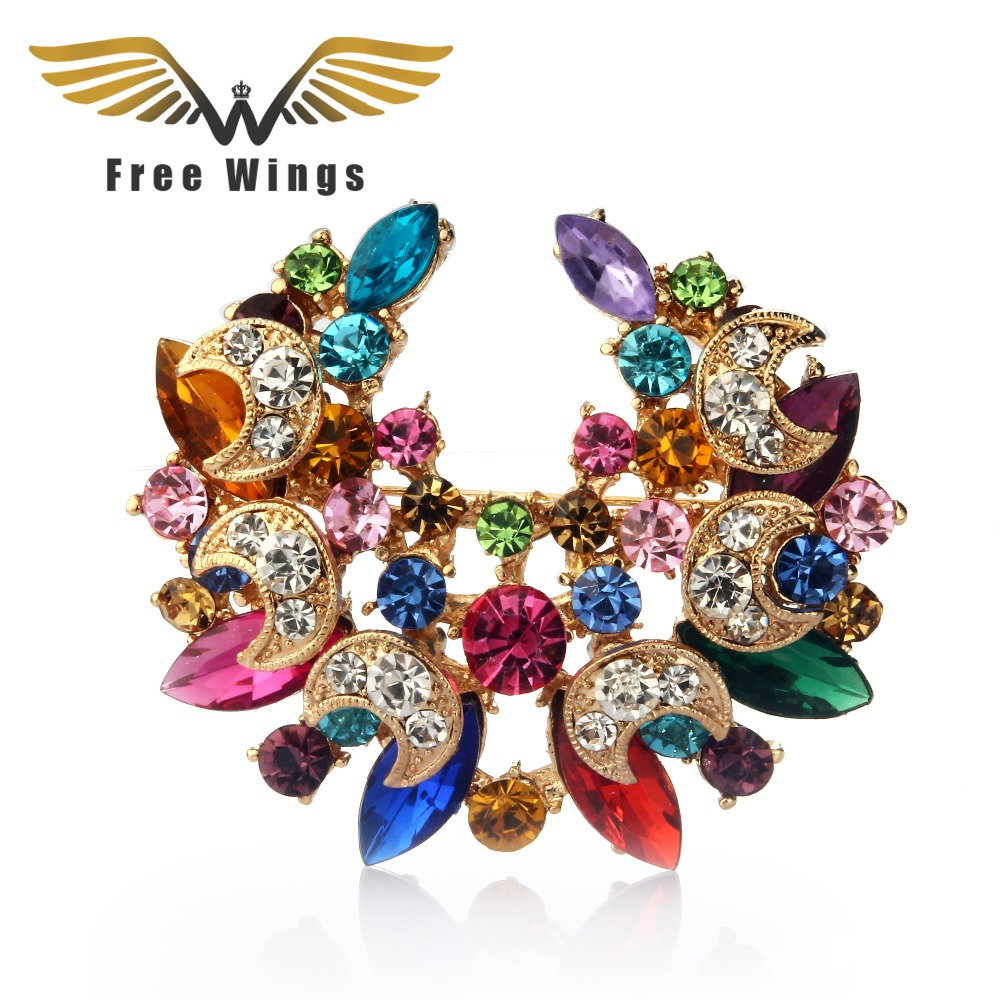 6e675cbc83 US $2.15 25% OFF Boutonniere Lapel Pins Lovely Crystal Fashion Women  Wedding Brooch Hijab Pins Jewelry large Flower Brooches 20D-in Brooches  from ...