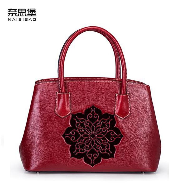 NAISIBAO 2018 New women Genuine Leather bag top Cowhide Embossed fashion luxury handbags designer tote women shoulder bag 2018 new women bag genuine leather brands top quality cowhide chinese style embossed women handbags fashion leather tote bag