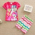2017 Лето Моя Маленькая лошадь печати Babys Пижамы Девушки Одежда детские наборы хлопка Пижамы для детей рубашка и шорты костюмы