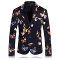 Hombres Floral Blazer 2017 Marca Trajes Coreanos Para Hombres Con Estilo patrón flor de mariposa traje vintage blazers escudo slim fit prom Q93
