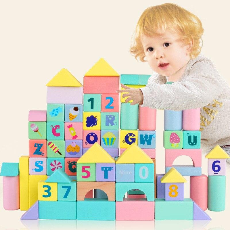Hêtre enfants blocs de construction jouet alphabétisation assemblé exercice jeu bébé illumination début éducatif noël cadeau d'anniversaire