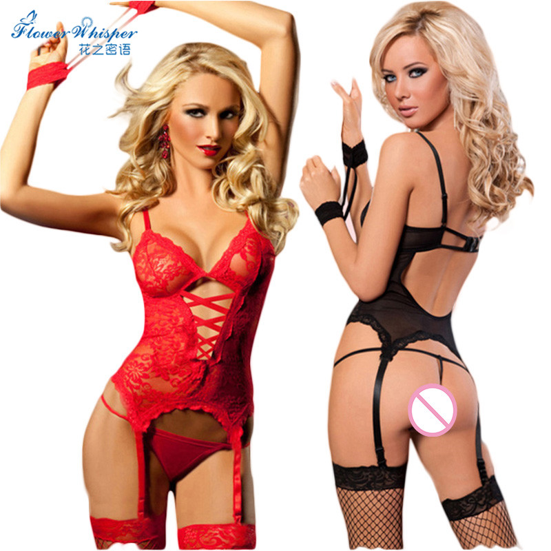1set Sexy Lingerie Hot Women Lingerie Lace Transparent Handcuff G String Garters font b Sex b