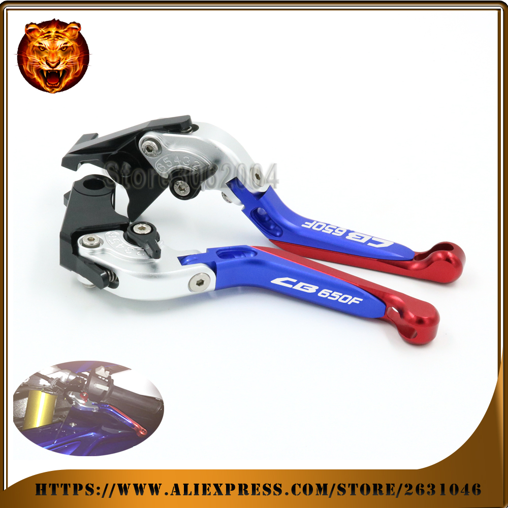 Motorcycle  Adjustable Folding Extendable Brake Clutch Lever For HONDA CB650F CB650 2014 2015 2016 2017 Silver+blue CNC 2015 red cnc motorcycle adjustable folding extendable brake clutch lever for yamaha xt1200z ze super tenere 2010 2016 2012 2013 2014 2015