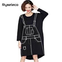 Spring Long Batwing Sleeve Dresses Women Novelty 3D Pattern Print Kawaii Punk Black Loose Knee Length Midi Straight Autumn Dress