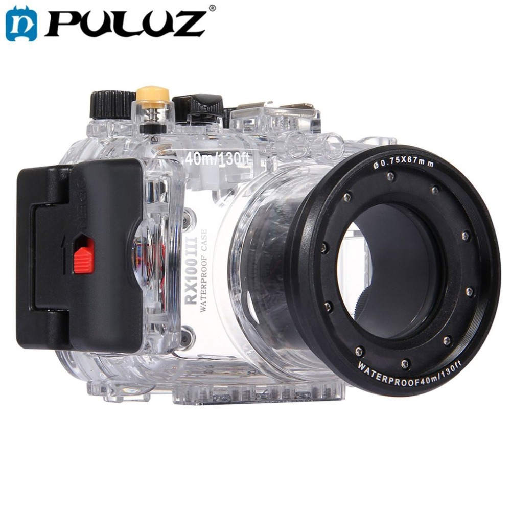 PULUZ 40m Underwater Depth Diving Case Waterproof Camera Housing for Sony RX100 III Transparent Lightweight Protective Cover