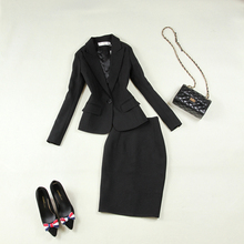 Set womens new black Slim simple OL temperament commuting tool suit small + skirt work clothes elegant two-piece