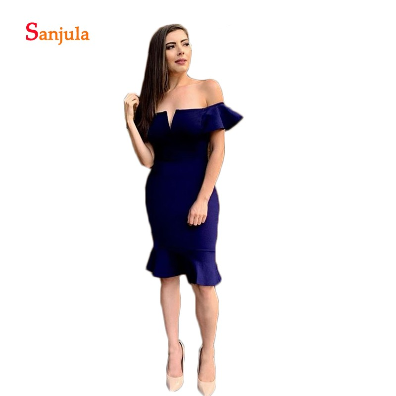 Off The Shoulder Knee Length Short Cocktail Dresses Boat Neck Sheath Night Party Gowns Jersey Prom Dresses Cheap D1011