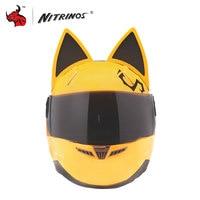 MALUSHUN Women Personality Cat Ears Helmet Motorcycle Helmet Have Horns Motocross Helmet Capacetes De Motociclista 4