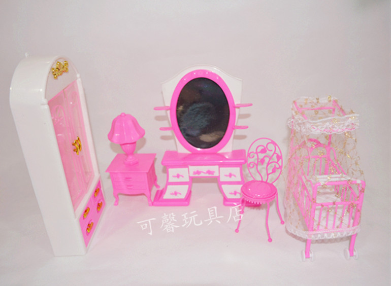 Free Transport,doll furnishings cupboard+ Small  mattress  +dresser+chair+Desk lamp 5 equipment for Barbie Doll,woman play home
