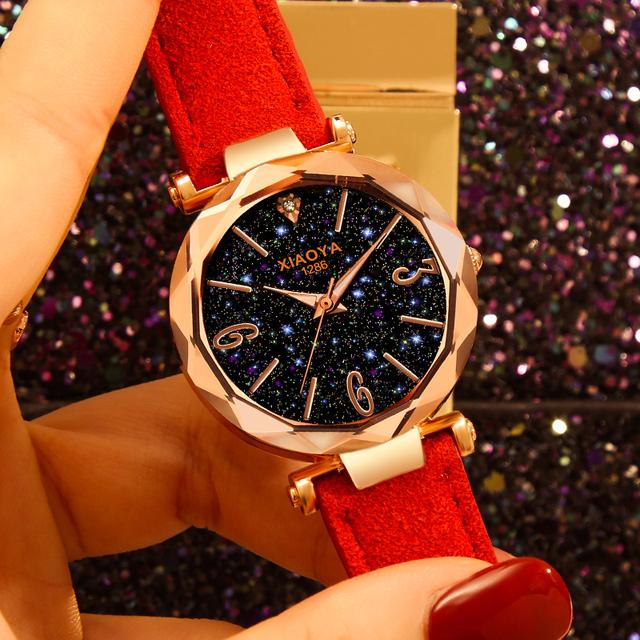 Exquisite Ladies Watch Starry Sky Female Leather Quartz Wrist Watch Elegant Women Watches Bracelet Watch Montre Femme 2019