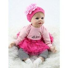 55 cm 22 pouces Silicone bébé reborn poupées réaliste nouveau-né fille bébés jouet pour enfant rose princesse poupée cadeau d'anniversaire brinquedos
