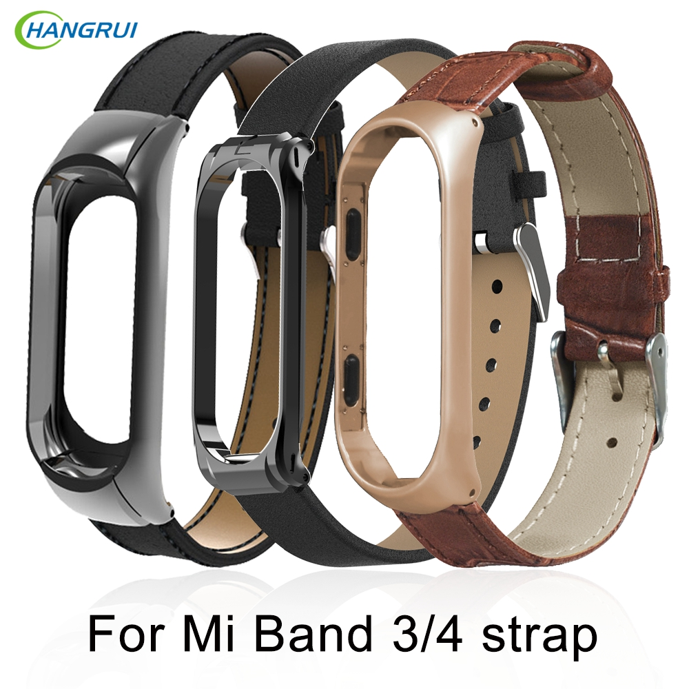 Hangrui Leather Black Rose Gold Case Smart Watch band for Xiaomi Mi Band 3  4 strap For mi band 4 bracelet Miband 3 Strap