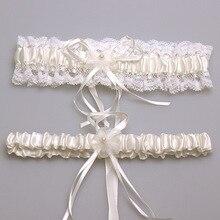 Mujeres Sexy ligas ligas de encaje de perlas Floral Bowknot ligas de novia de la boda de la pierna liguero un par conjuntos estilo Vintage
