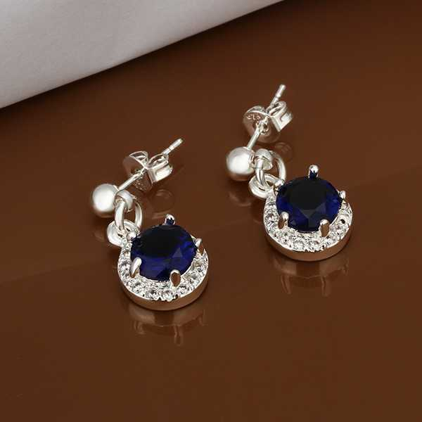 free stone silver wholesale blue earring shipping inlaid jewelry fashion item earrings plated