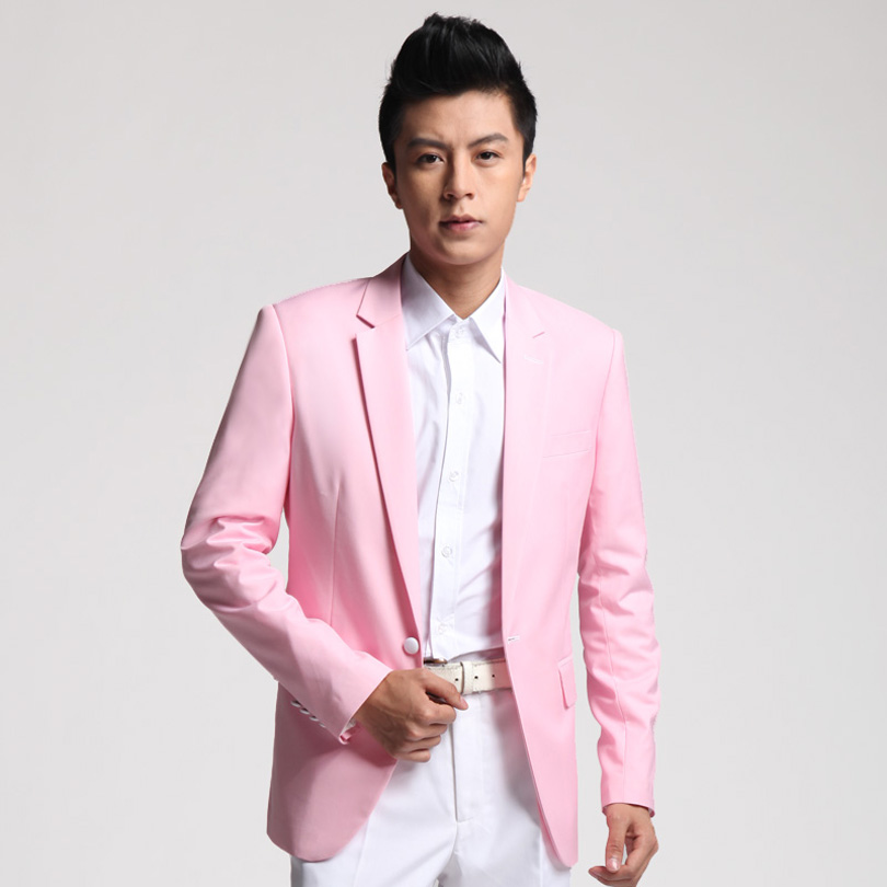 Custom Made Handsome One Button Pink Groom Tuxedos Notch Lapel Best Man Groomsman Men Wedding Suits ( jacket+Pants)