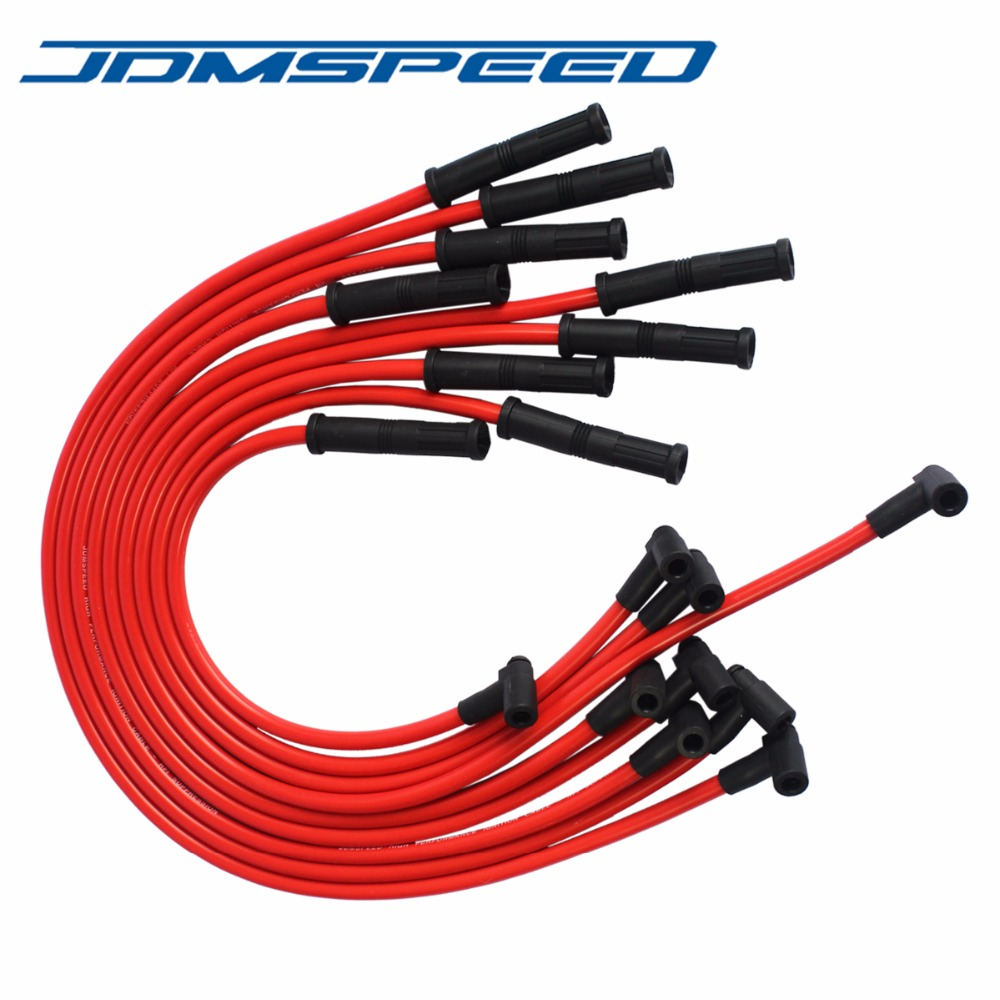 Free Shipping JDMSPEED New Spark Plug Wires Set 90 to Straight Fit For Chevrolet SBC BBC