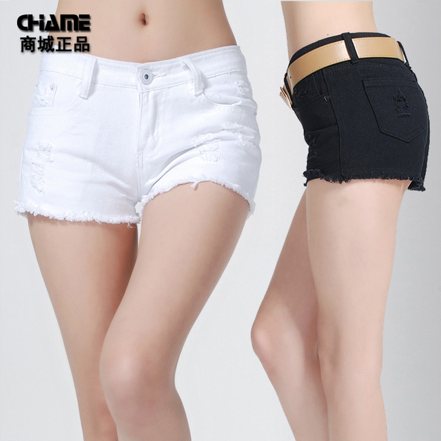 free shipping 2013 spring summer pants thin hole jeans female plus size black and white denim shorts jeans sho trousers