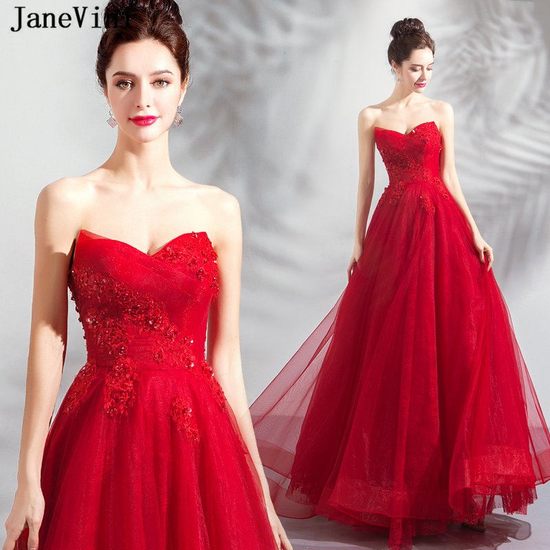 JaneVini Sexy Red Princess A Line Long   Bridesmaid     Dresses   2019 V Neck Lace Appliques Beading Tulle Floor Length Prom Party Gowns