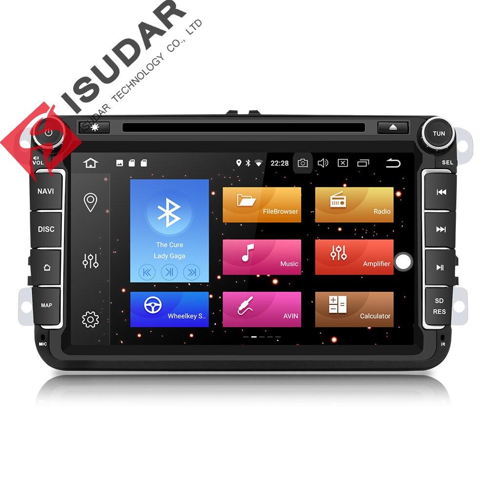Isudar lecteur multimédia De Voiture GPS Android 8.0 2 Din Pour VW/Volkswagen/POLO/PASSAT/Golf Arrière Vue caméra Capacitif écran tactile