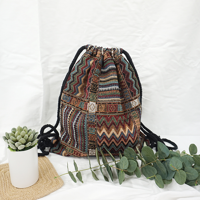 HTB1cM2Bo3DD8KJjy0Fdq6AjvXXaT LilyHood Women Fabric Backpack Female Gypsy Bohemian Boho Chic Aztec Ibiza Tribal Ethnic Ibiza Brown Drawstring Rucksack Bags