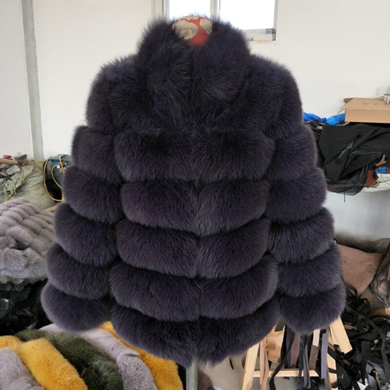 Women High-Grade Real Fox Fur Stand Collar Coat Ladies Pure Color Short Coat Winter Warm Genuine Fur Jackets Outwear thumbnail