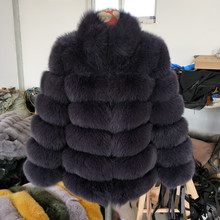 купить Women High-Grade Real Fox Fur Stand Collar Coat Ladies Pure Color Short Coat Winter Warm Genuine Fur Jackets Outwear по цене 27941.28 рублей