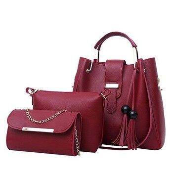 Для женщин 3 шт./компл. Сумки PU кожа сумки на ремне Повседневное сумка кисточкой металлической ручкой дизайнер Композитный сумка