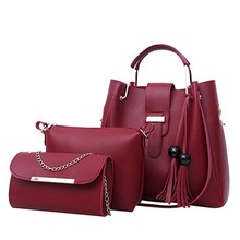 9fb3e9adba7 Women 3Pcs Set Handbags PU Leather Shoulder Bags Casual Tote Bag Tassel  Metal Handle Designer