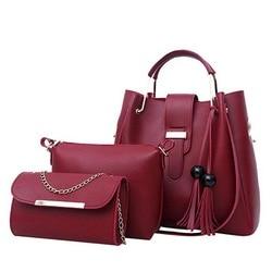 Women 3Pcs/Set Handbags PU Leather Shoulder Bags Casual Tote Bag Tassel Metal Handle Designer Composite Messenger Bag