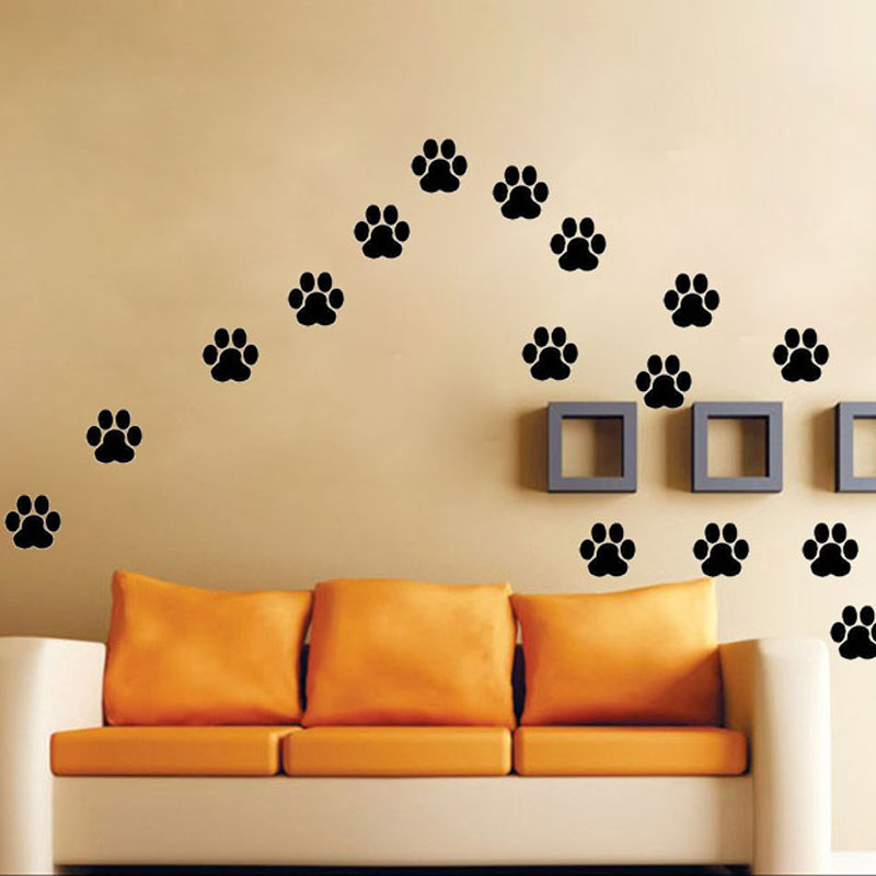 Dog Cat Walking Paw Print Wall Stickers Decal Home Decoration LK009 ...