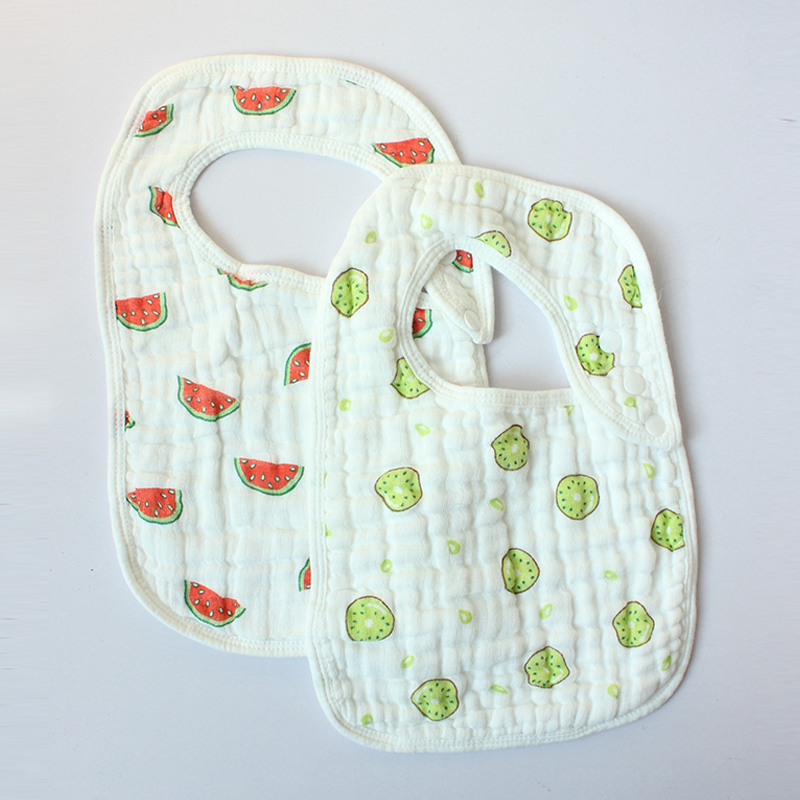 2pcs Baby Bibs&Burp Cloths Comfortable Durable Cotton 8 Layers MUALIN Gauze Slabbers Towel Newborn U-shaped Meal Pocket Feeding