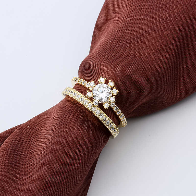 Crown White Crystal Zircon Ring Sets Vintage Wedding Rings For Men And Women Gold Filled Jewelry Valentine's Day Gifts