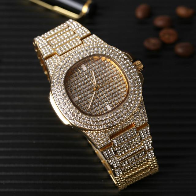 Luxury men hip hop Diamond cross jewelry watch & bracelet & Necklace Combo Set Watch Diamond cuban ice out Pendant Necklace set