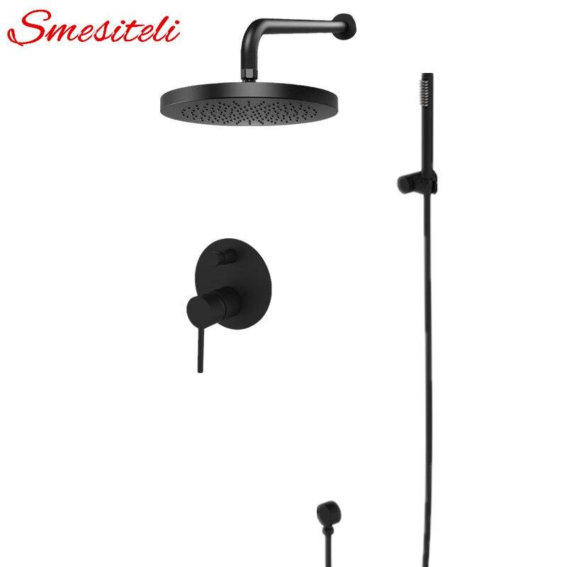 Smesiteli Montagem Na Parede de Bronze Conjunto de Chuveiro Do Banheiro Chuvas Shower Head & Handheld Preto Sólido Suporte de Bronze Chuveiro Desviador Kit