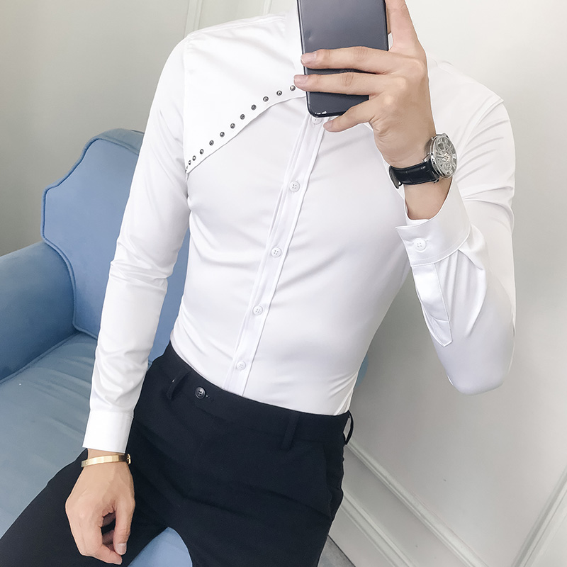 84137852 Fashion Rivets Design Men Shirt Autumn New 2019 Solid Slim Fit Tuxedo  Shirts Long Sleeve Korean Dress Shirt Male Black/White 3XL-in Tuxedo Shirts  from Men's ...