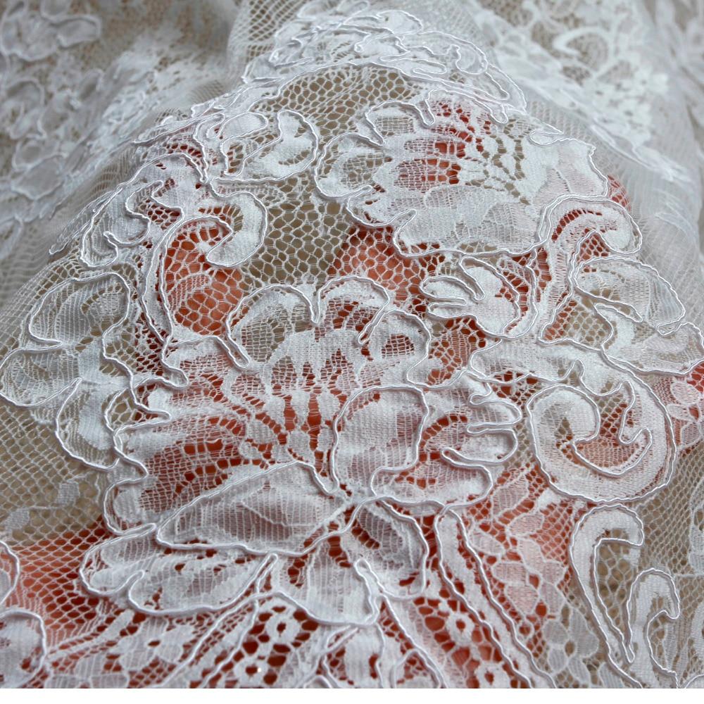 150 cm * 3 yard door stuk goede kwaliteit off white Venetië koord geborduurde Franse wimper bruids kant stof - 2