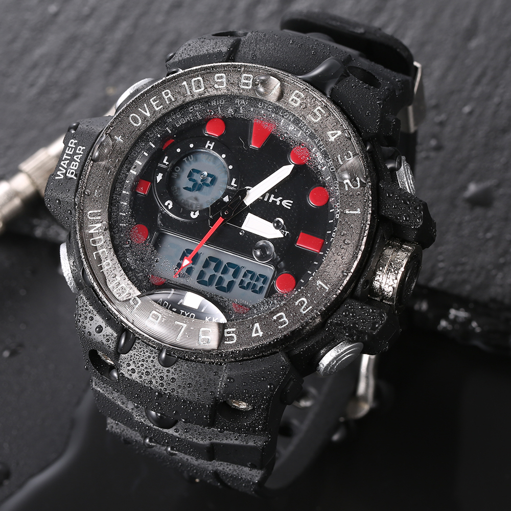 Hot Selling Unisex Outdoor Sports Dual Time Digital Wristwatch Men And Women Luxury Brand Waterproof Rubber Led Watch