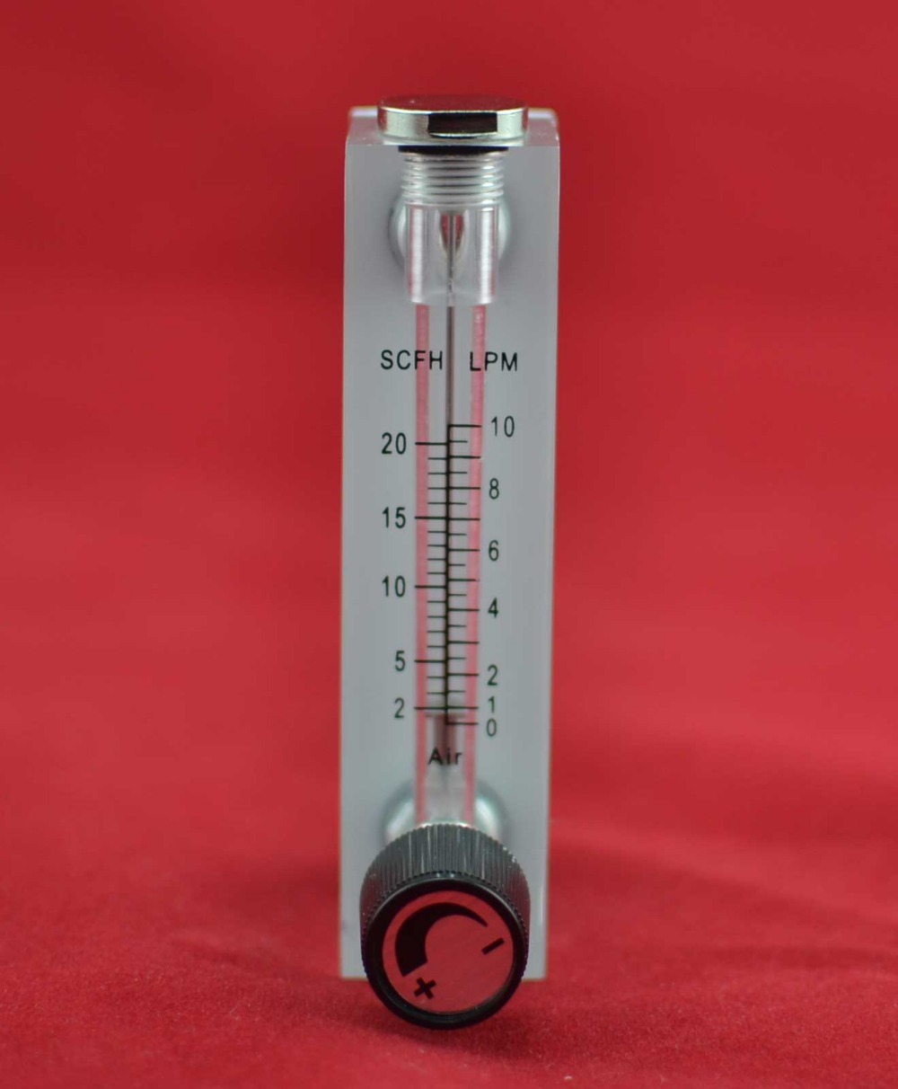 LZM-6T 1-10LPM/2-20SCFH panel type acrylic flowmeter(flow meter) with adjust valve bass fitting Female G1/4