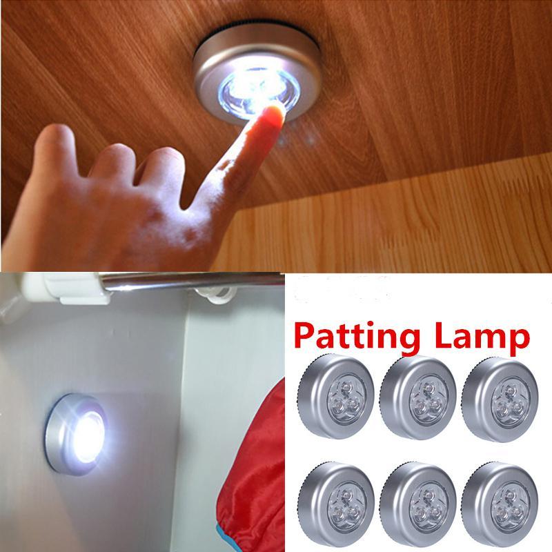 LED Touch Control Round Cabinet Light Cute Patting Lamp Mini White Night Lamp Decoration (6Pcs/3Pcs)