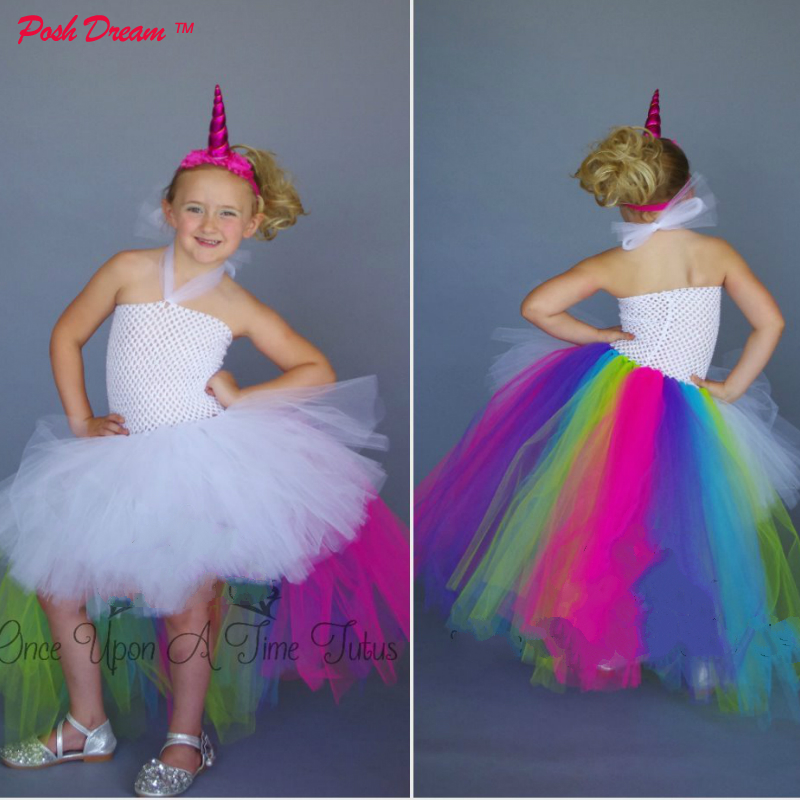 POSH DREAM Neon Unicorn Queen Kids Girls Tutu Dress Birthday Outfit Halloween Costume Size 1 12Y Little Kids Unicorn Dresses D